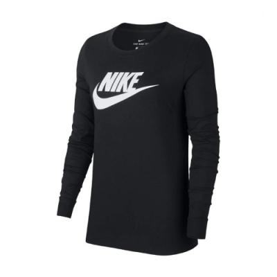 Nike 大學T Long Sleeve Shirts 女款 NSW 運動休閒 基本款 圓領 棉質 黑 白 BV6172010