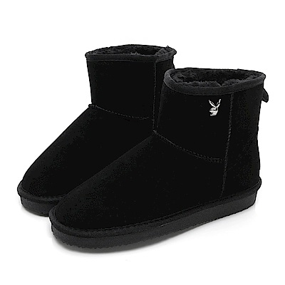PLAYBOY 陽光雪戀 皇冠織標短筒雪靴-黑
