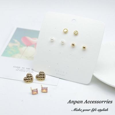 【ANPAN愛扮】韓東大門菱格紋愛心珍珠925銀耳針式耳環套組