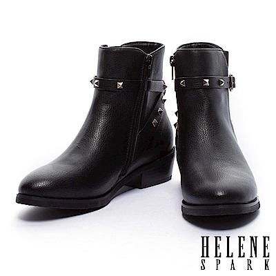 短靴 HELEN SPARK 率性時尚金屬鉚釘繫帶粗低跟短靴-黑