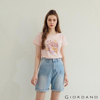 GIORDANO  女裝夏日陽光印花T恤 - 31 薄紗粉紅
