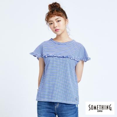 SOMETHING 細條荷葉 圓領短袖T恤-女-藍色