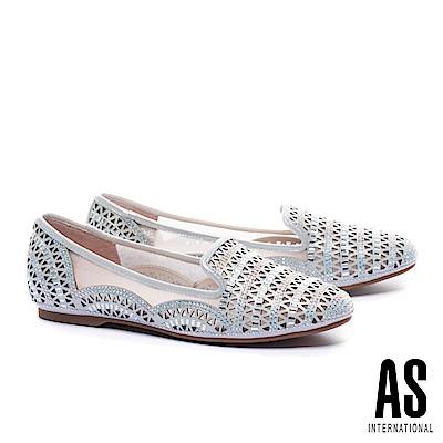 平底鞋 AS 精緻璀璨幾何晶鑽冲孔金屬布紋羊麂皮平底鞋-銀