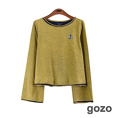 gozo 不修捲邊領寬袖純棉上衣(中黃)