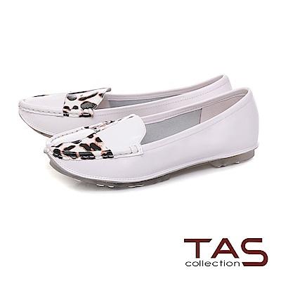 TAS 簡約牛皮撞色懶人鞋-亮眼白