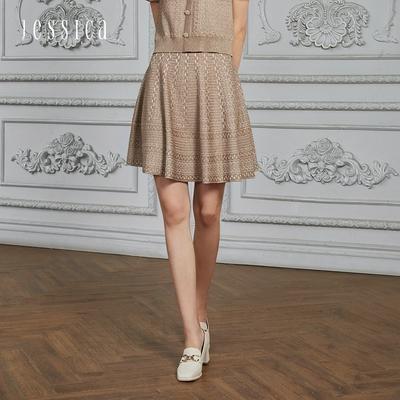 JESSICA - 復古優雅立體交織圓擺針織裙