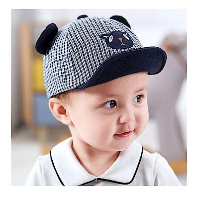 童趣春夏格子熊兒童鴨舌帽-二色可選