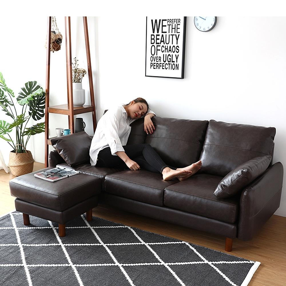 (黑色限量2組)Ally愛麗-日系東京時尚皮革-L型沙發獨立筒坐墊191cm-3人座沙發+腳椅