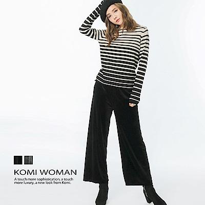 【KOMI】絲絨鬆緊綁帶長寬褲 (二色)