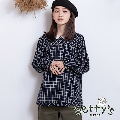 betty's貝蒂思 日系格紋上衣(深藍)