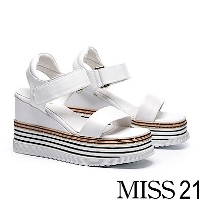 涼鞋 MISS 21 極簡率性一字帶層次厚底牛皮楔型涼鞋-白