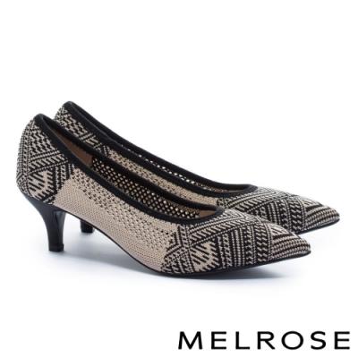高跟鞋 MELROSE 百搭時尚圖騰印花飛織尖頭高跟鞋-米
