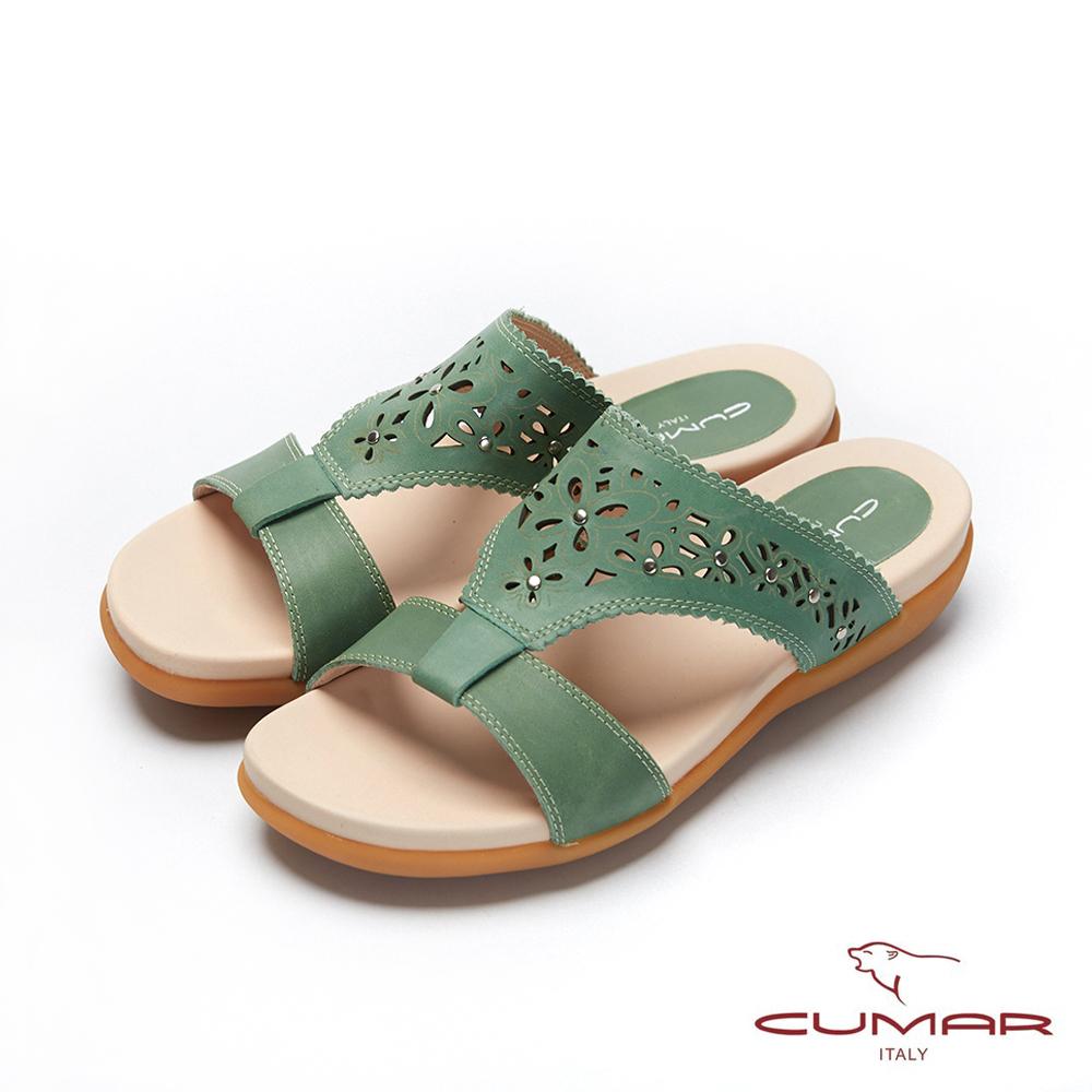 CUMAR普羅旺斯莊園- 雷射沖孔雕花工字拖鞋-綠