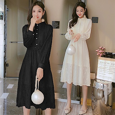 DABI 韓系名媛蕾絲鉤花復古翻領配腰帶長袖洋裝