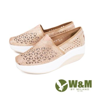W&M (女)Bounce 亮鑽縷紗彈力厚底增高鞋 女鞋 - 金(另有黑)