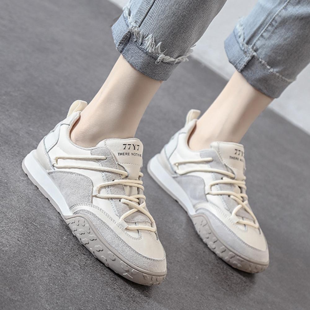 LN  現+預 復古風軟底休閒阿甘鞋(休閒鞋) (米白色)