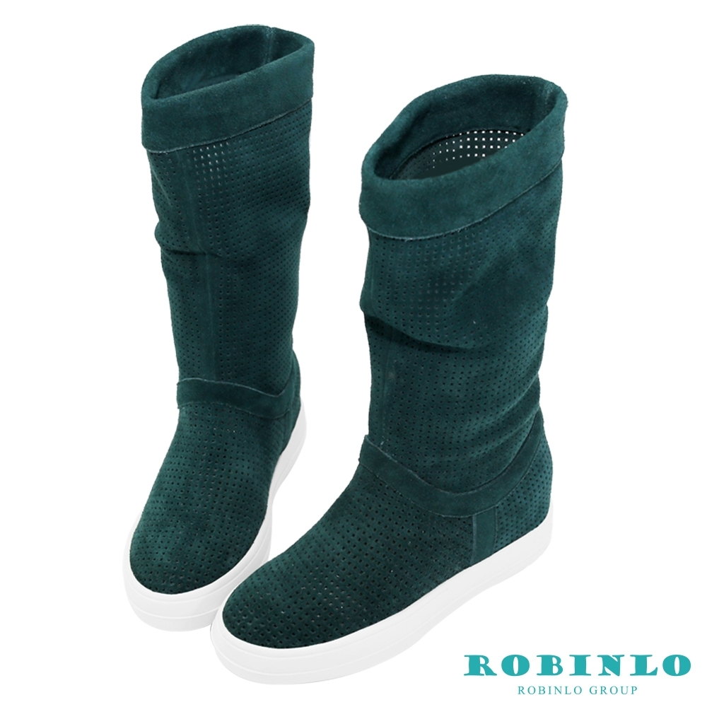 Robinlo 進口沖孔牛絨平底中長靴 綠色