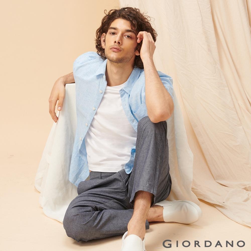 GIORDANO 男裝夏日棉麻短袖襯衫-10 土耳其藍