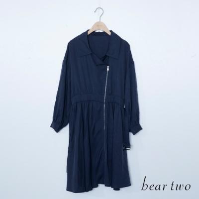 beartwo-斜拉鍊造型洋裝式外套-深藍