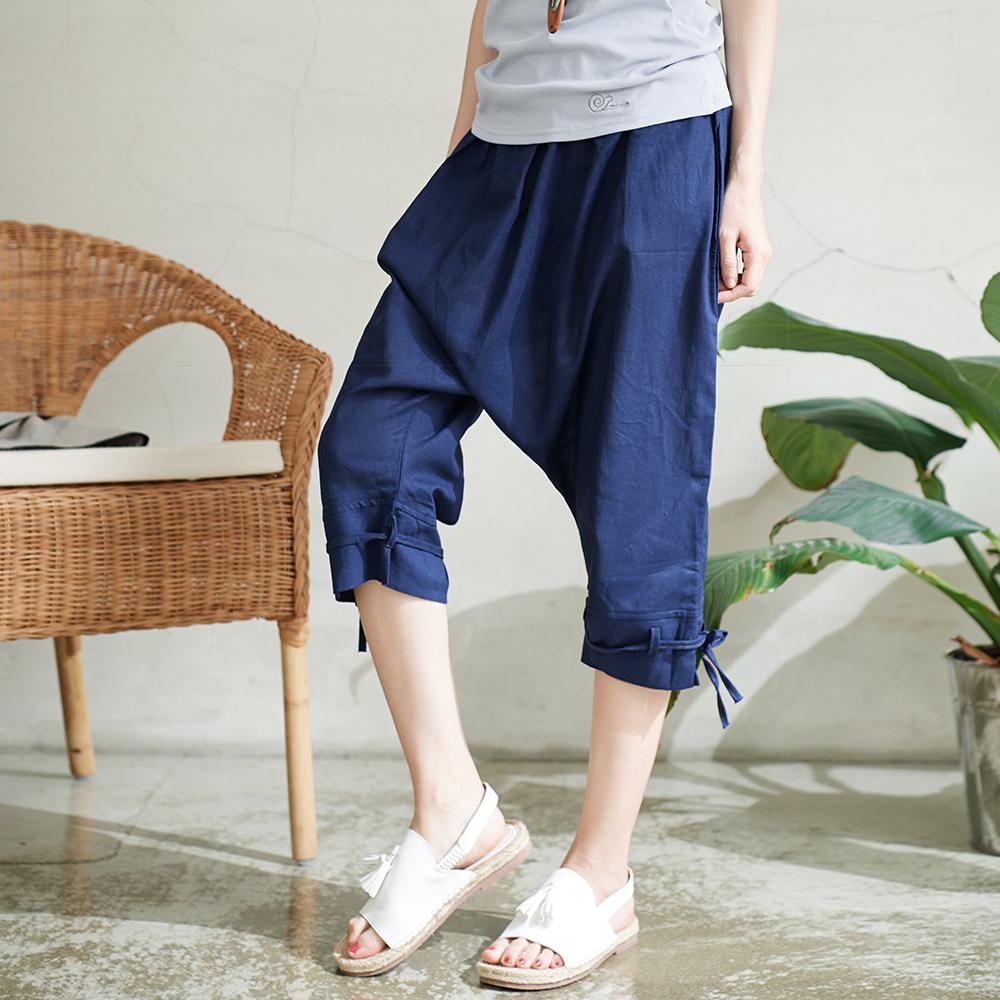 慢 生活 綁腿六分飛鼠褲-藍色
