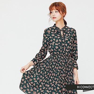 H:CONNECT 韓國品牌 女裝-滿版印花收腰洋裝-綠