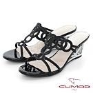 【CUMAR】情迷哈瓦那 - 眼睛鑽飾特殊鏤空楔型跟鞋-黑