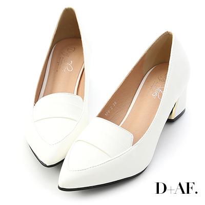 D+AF 知性氣質.經典款金屬跟尖頭跟鞋*白