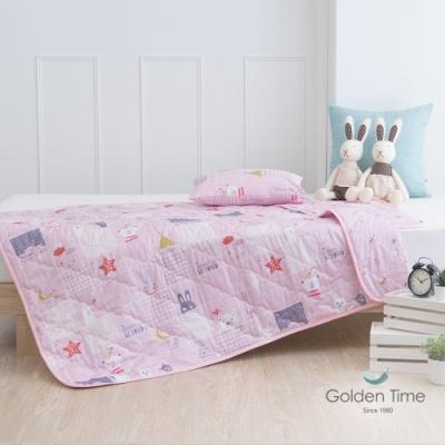 GOLDEN-TIME-兒童睡墊涼被組-晚安熊熊(粉)
