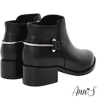 Ann'S後跟銀色馬蹄環拼接粗跟短靴-黑