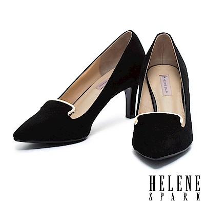 高跟鞋 HELENE SPARK 英式優雅格紋毛呢尖頭高跟鞋-黑