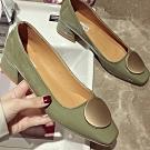 KEITH-WILL時尚鞋館 唯美青春圓扣粗跟鞋 綠