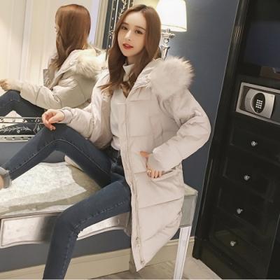 2F-韓系大毛領連帽長版鋪棉外套-白-S