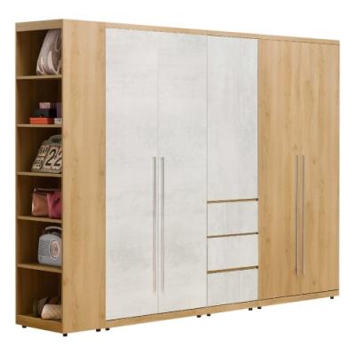 D&T德泰傢俱 JOYE清水模風格8.9尺組合衣櫃-235x57x202cm
