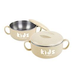 【OUTSY嚴選】純鈦兒童學習餐碗組(雙層) 小麥黃