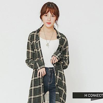 H:CONNECT 韓國品牌 女裝-輕薄格紋長板襯衫-綠