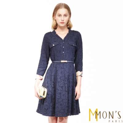 MONS 氣質蕾絲修身洋裝(微彈性)