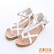ZUCCA-羅馬紋交叉扣環涼鞋-白-z6328we product thumbnail 1