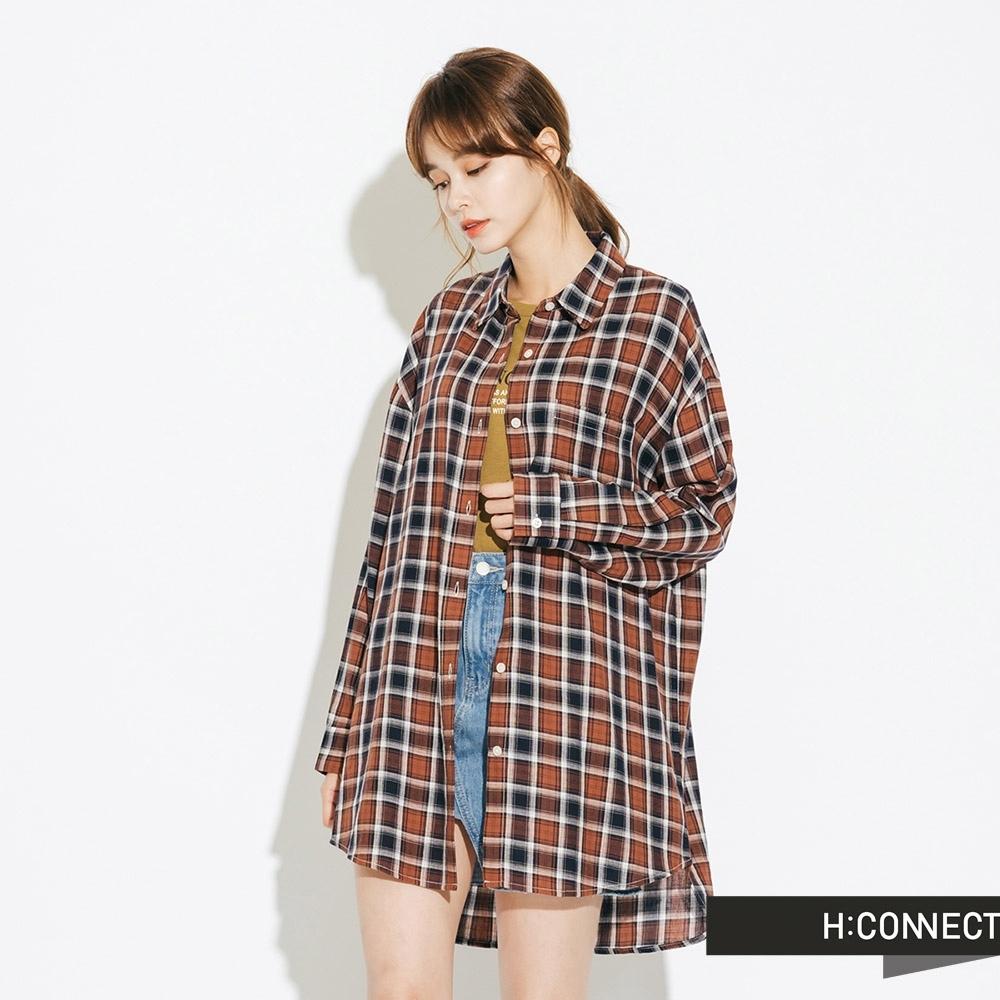 H:CONNECT 韓國品牌 女裝-復古配色格子襯衫-藍