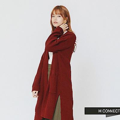H:CONNECT 韓國品牌 女裝-柔軟開襟口袋針織外套-紅