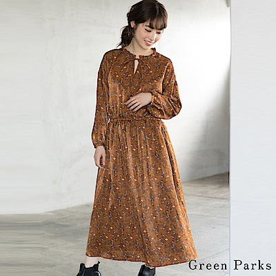 Green Parks 復古花柄荷葉邊洋裝