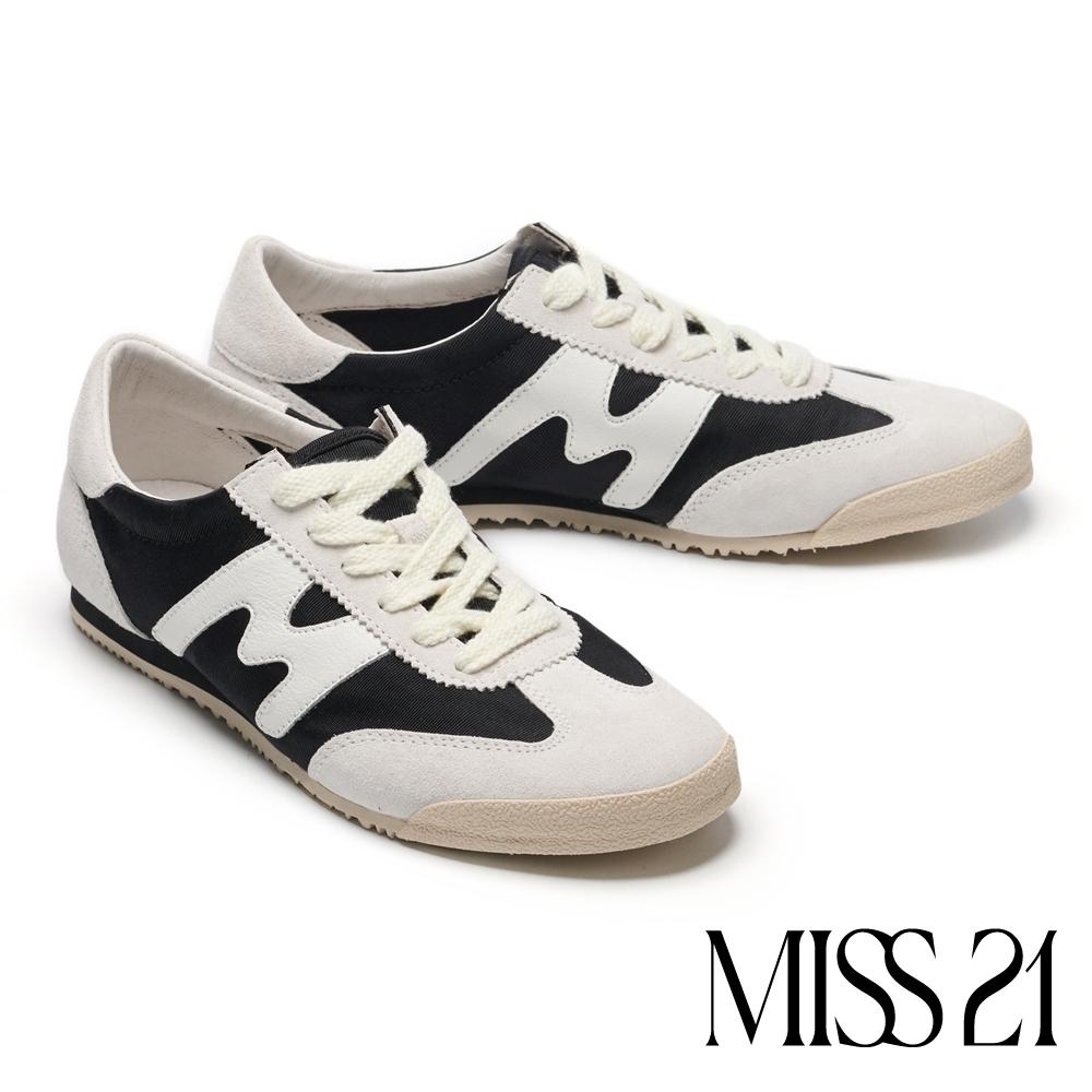休閒鞋 MISS 21 復古色塊拼接綁帶厚底休閒鞋-黑