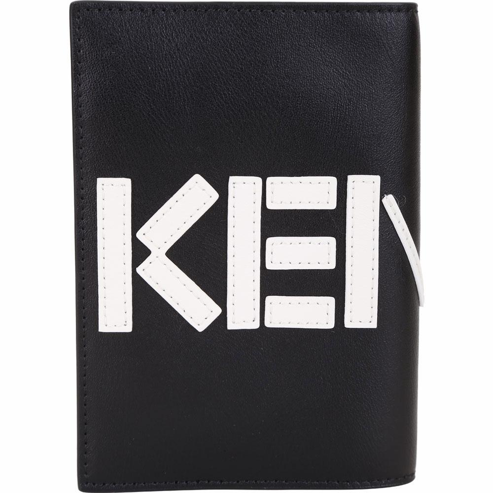 KENZO 撞色LOGO設計護照夾(黑/白)