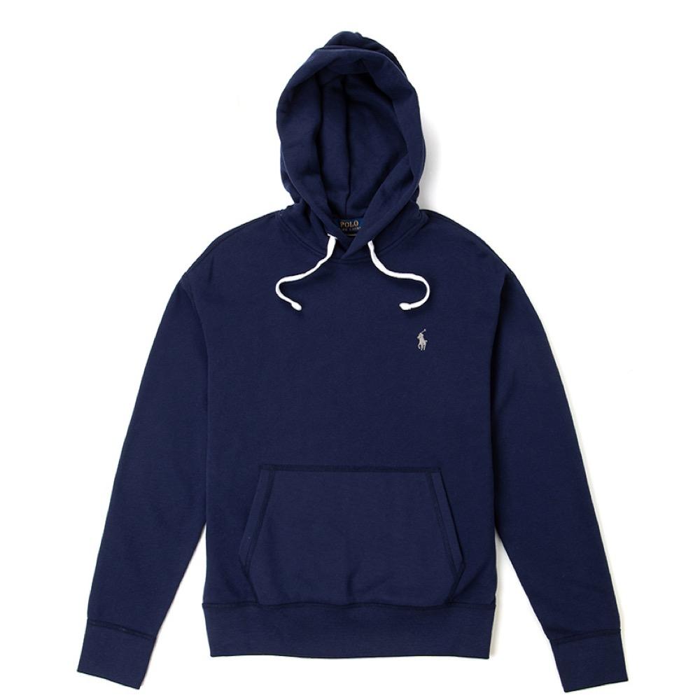 Polo Rlaph Lauren 年度熱銷經典刺繡小馬鋪棉連帽T恤-深藍色