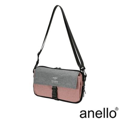 anello THE DAY 多收納輕巧斜背包 淺粉x灰色