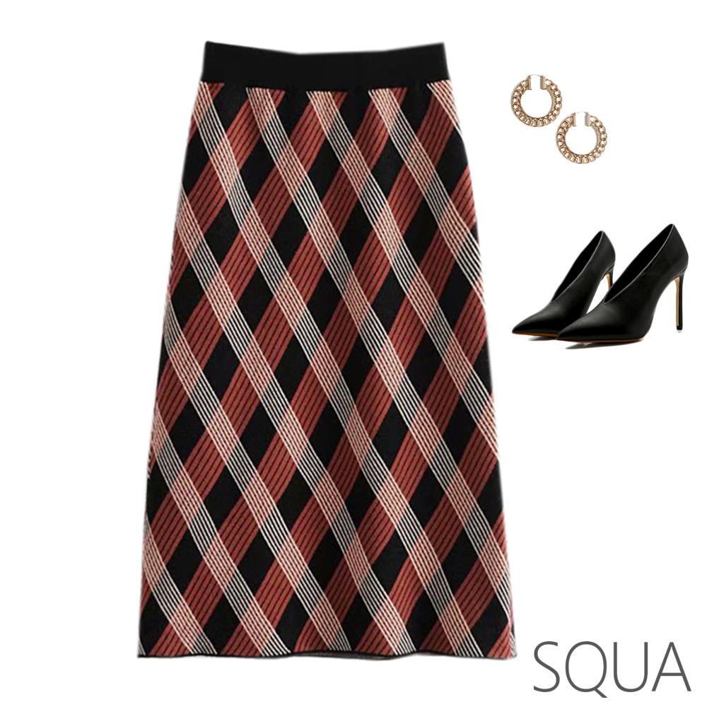 SQUA 菱格紋針織半身裙-二色