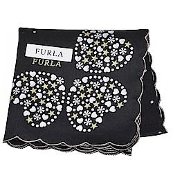 FURLA 可愛繽紛愛心荷葉邊字母LOGO帕領巾(黑)