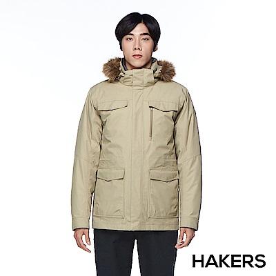 【HAKERS 哈克士】男款 三合一防水羽絨外套(灰褐色)
