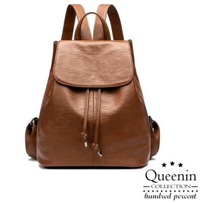 DF Queenin日韓 - 歐美風尚復古簡約仿真皮後背包-共2色
