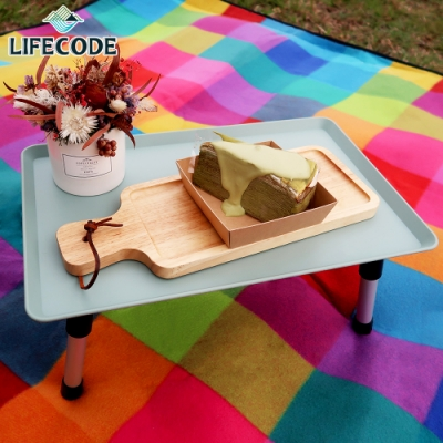 LIFECODE 托盤式折疊小方桌40x25cm-田園綠