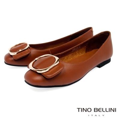 Tino Bellini大方金釦全真皮平底娃娃鞋_棕